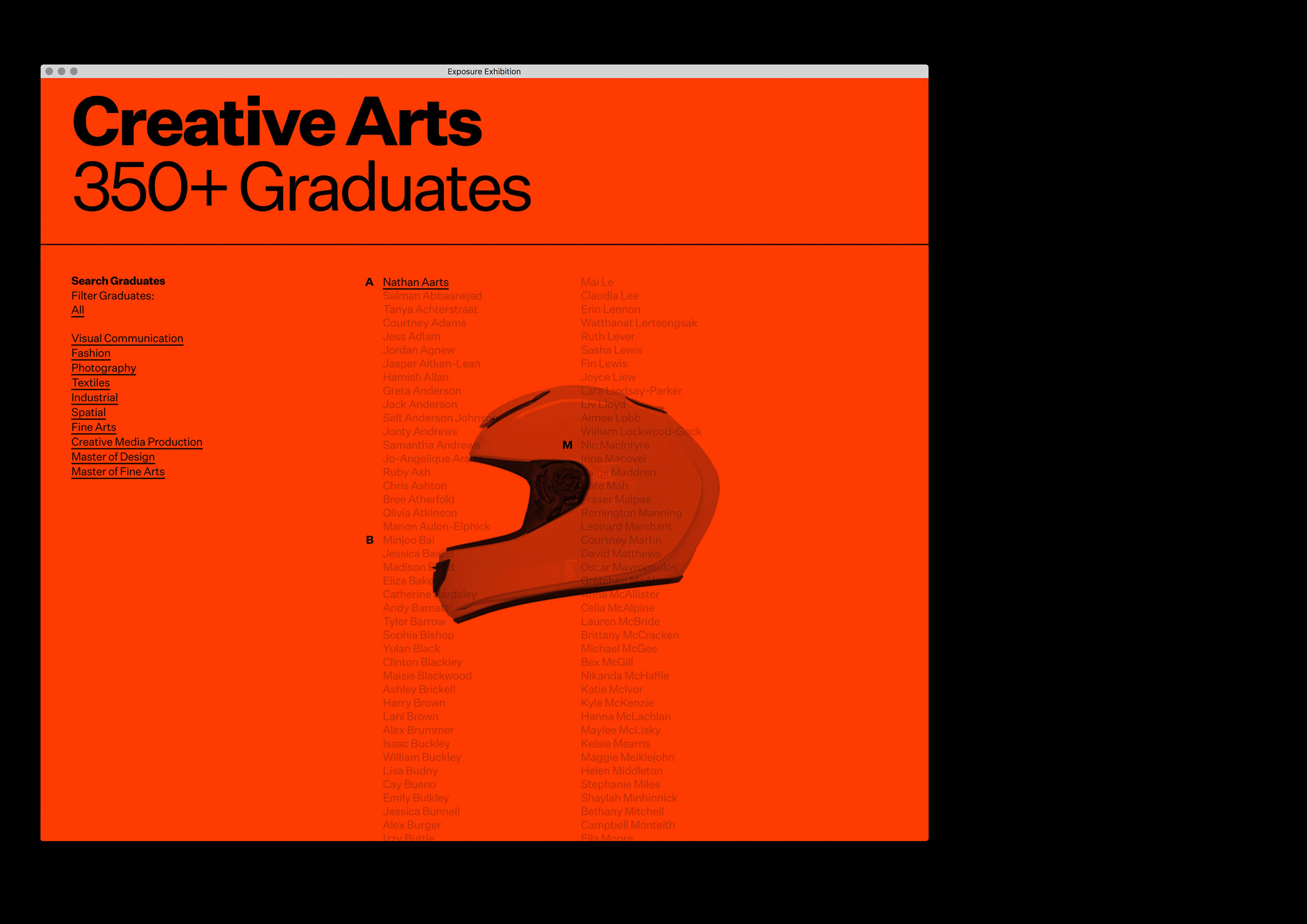 Homepage for the Massey University's Exposure Exhibition, showcasing the emerging talents of the 2017 graduates