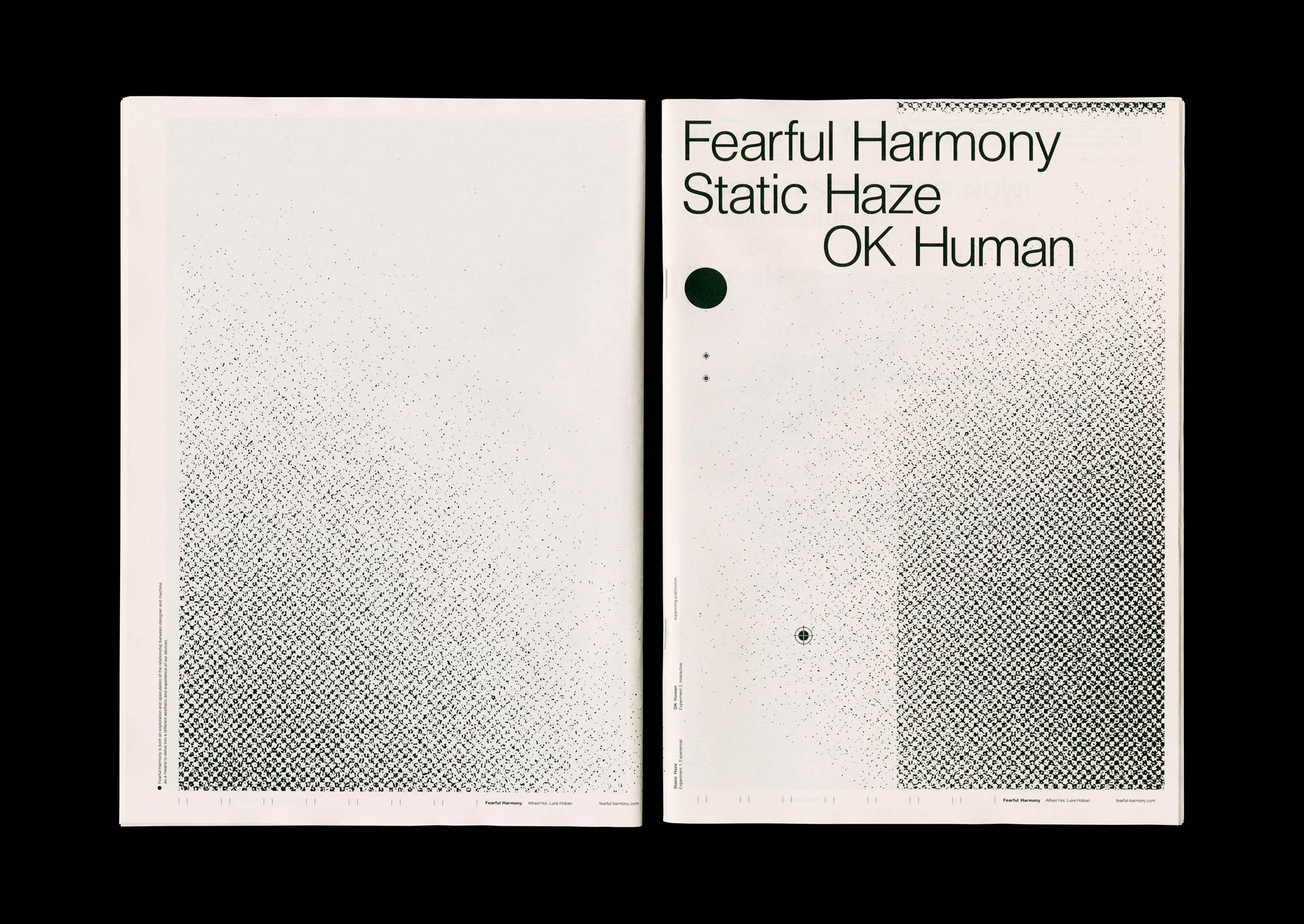 Spread from the supporting publication of Fearful Harmony. Cover and back pages