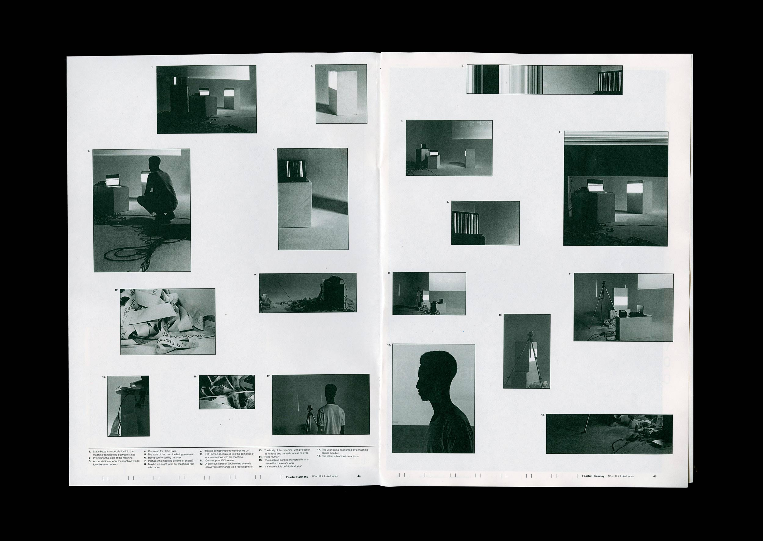 Spread from the supporting publication of Fearful Harmony. Image contents