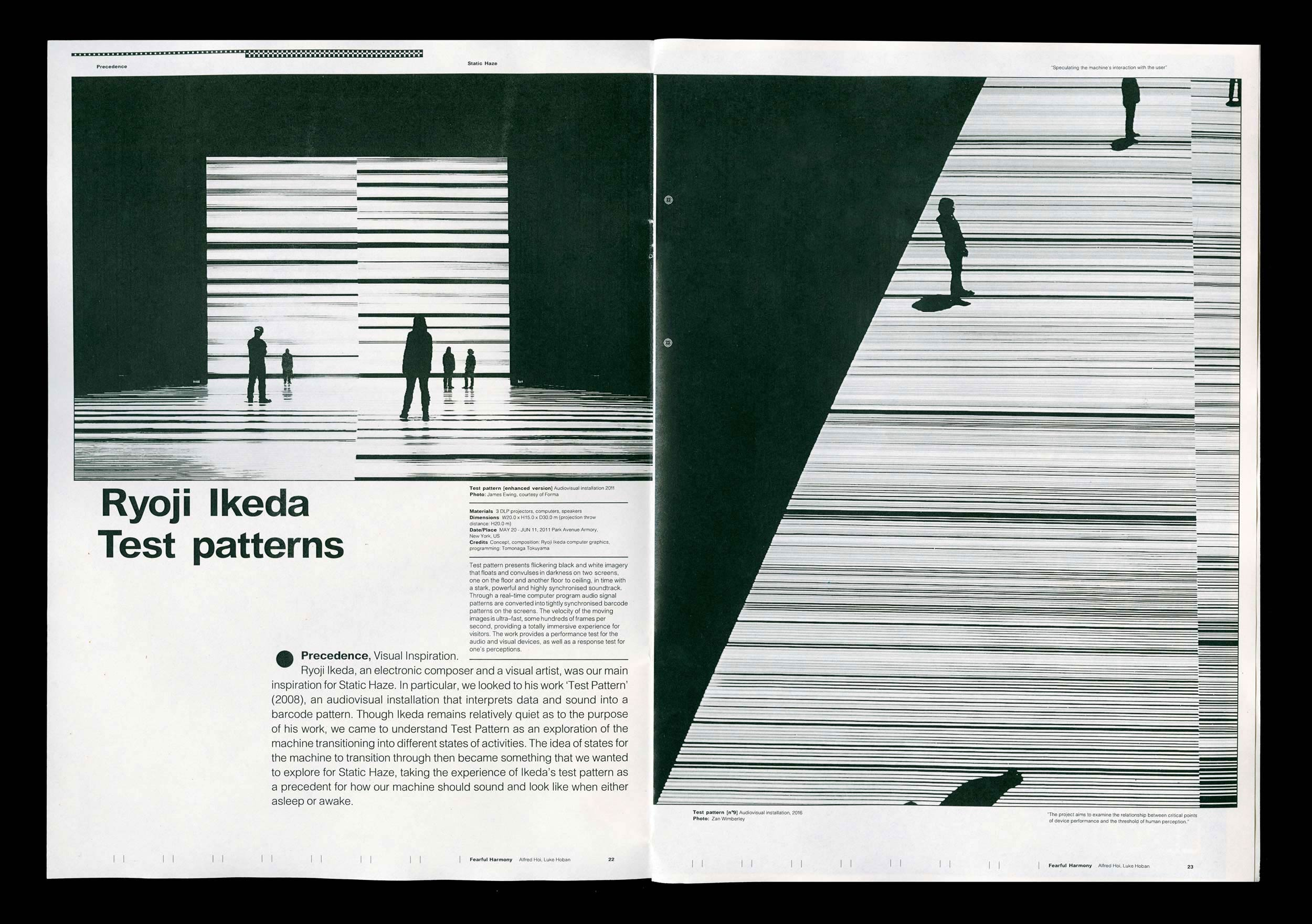 Spread from the supporting publication of Fearful Harmony. Ryoji Ikeda