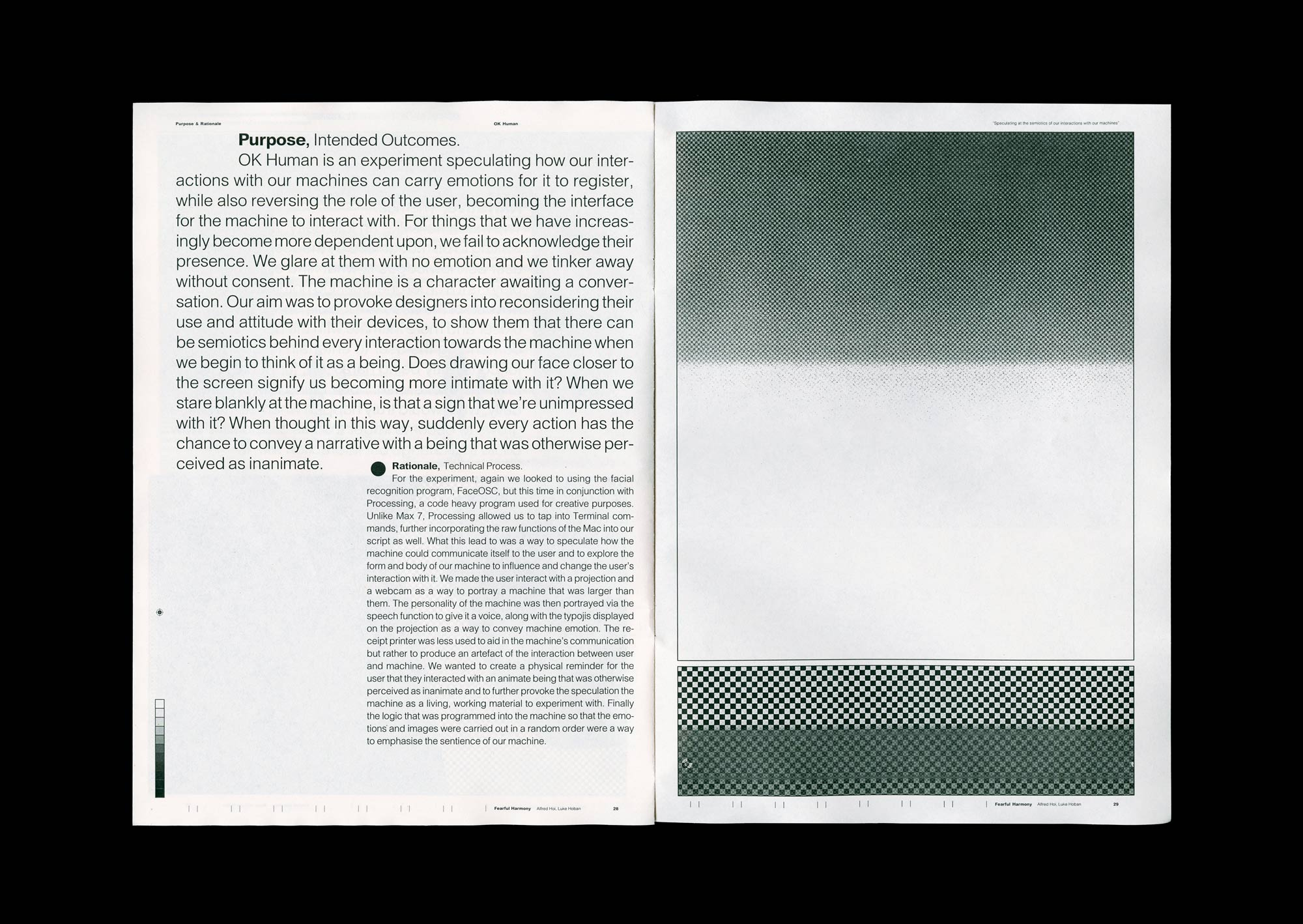Spread from the supporting publication of Fearful Harmony.