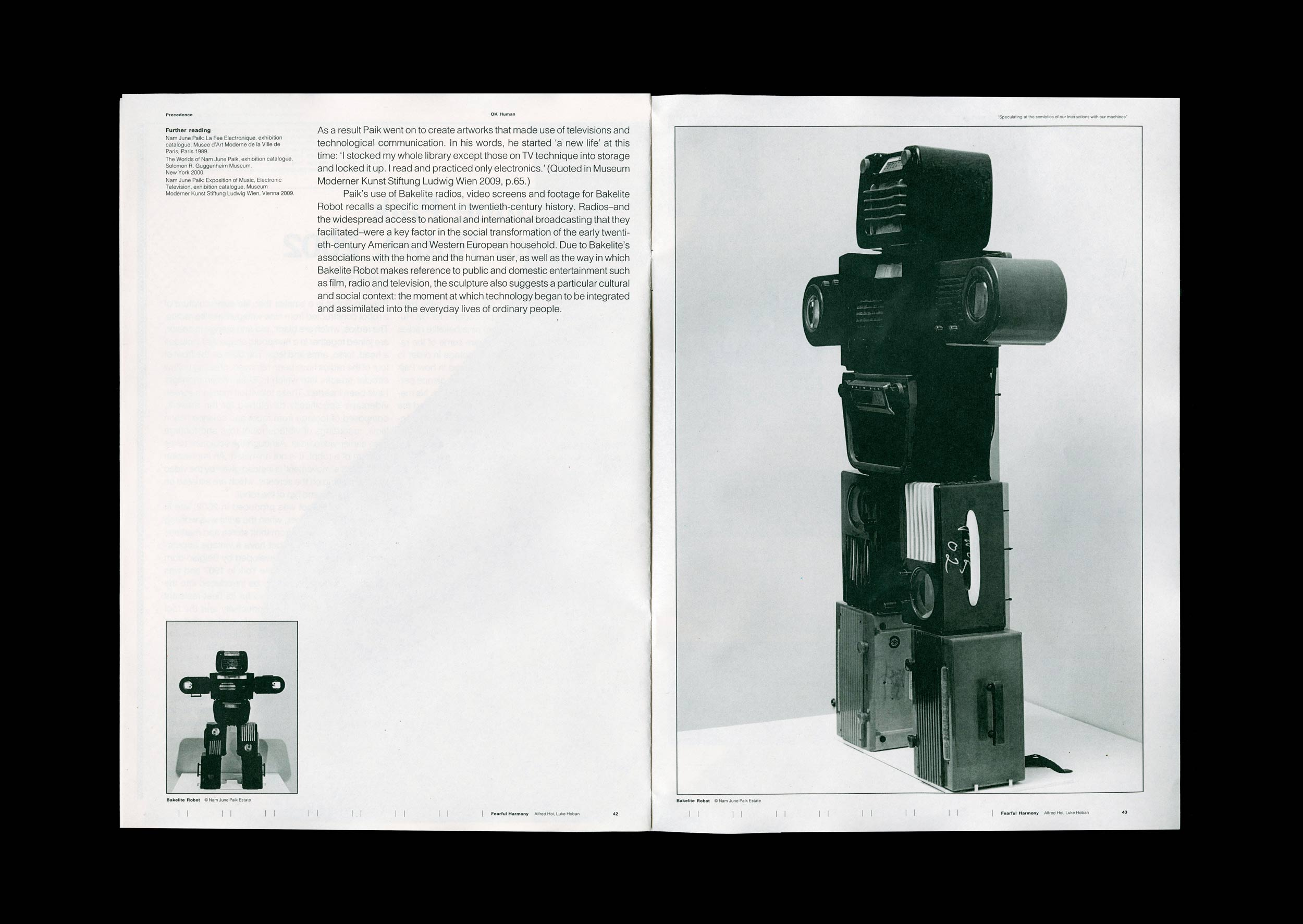 Spread from the supporting publication of Fearful Harmony. Nam June Paik