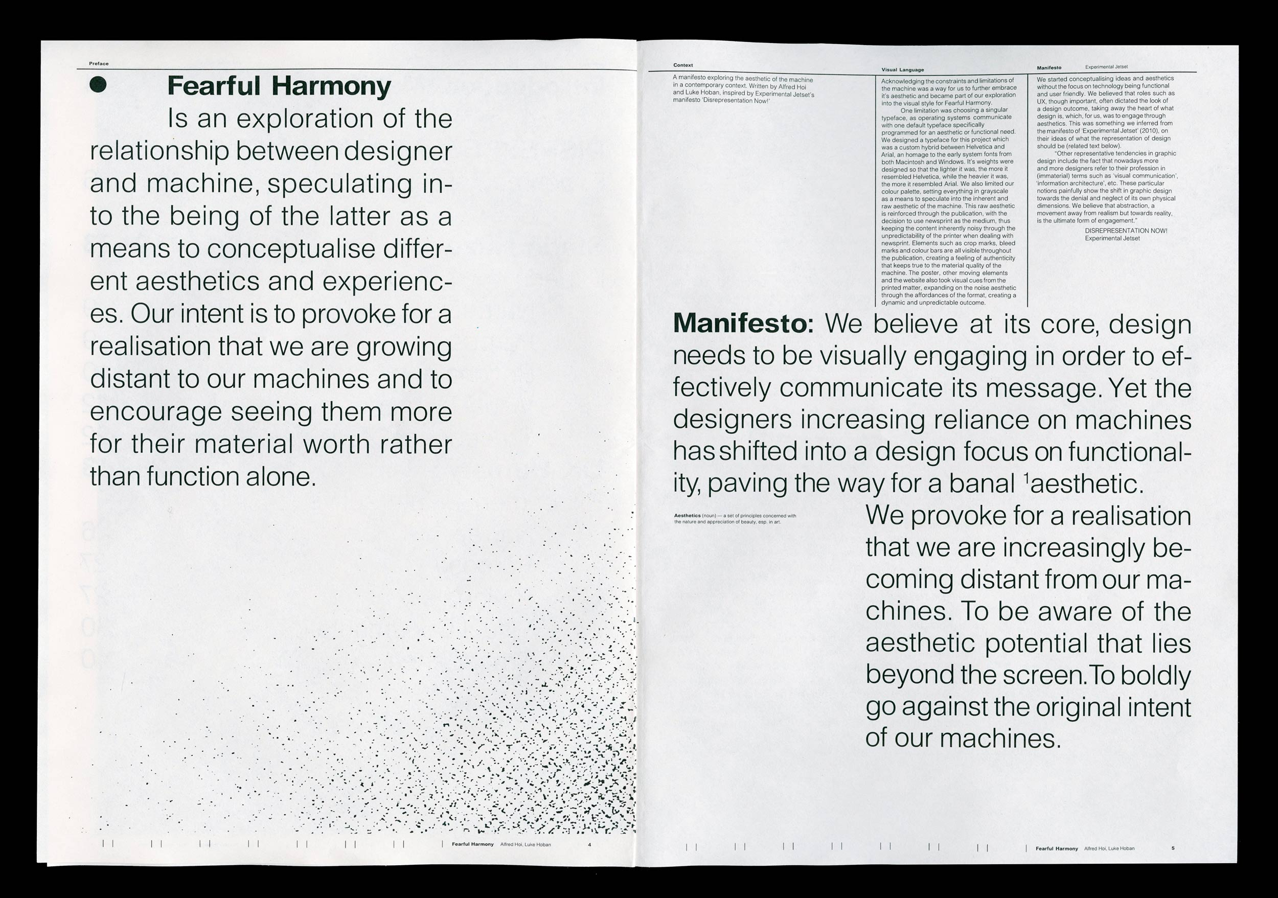 Spread from the supporting publication of Fearful Harmony. Manifesto page