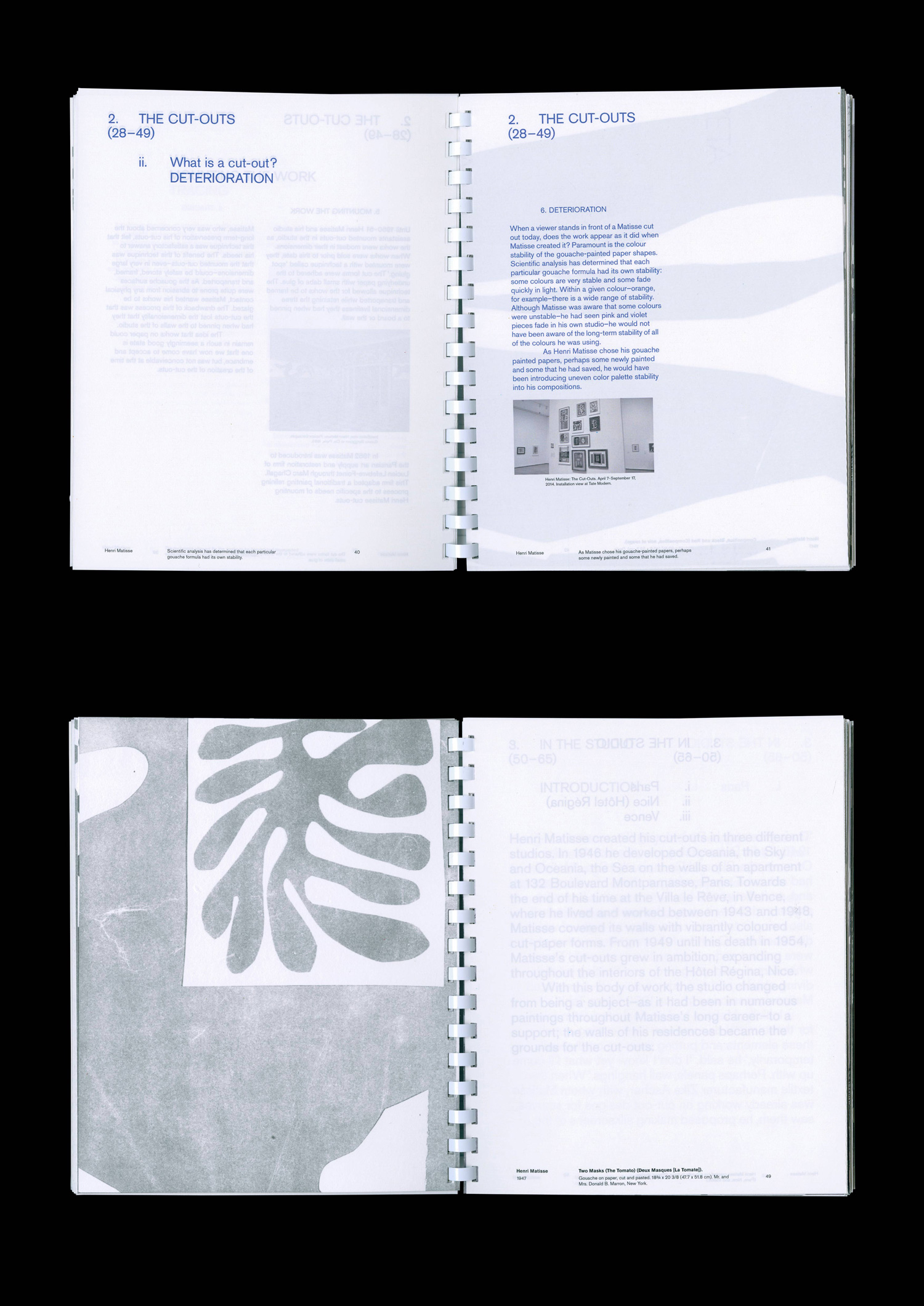 Contents page with folded supporting posters, Henri Matisse: The Cut-Outs