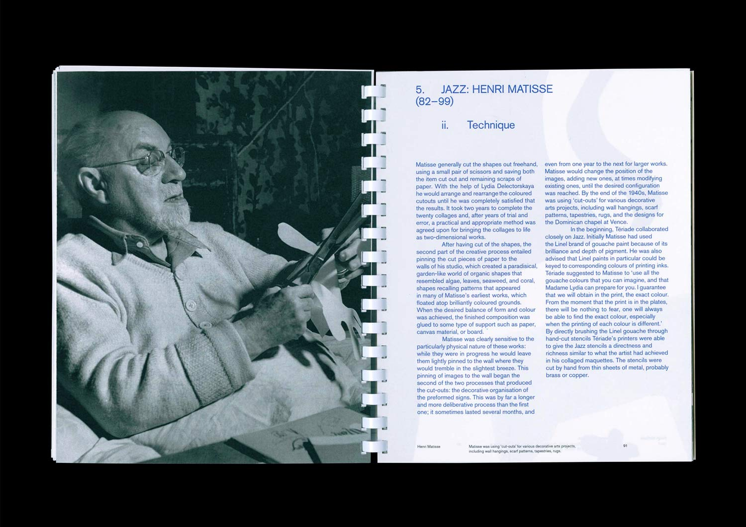 Inside spread of the publication, Henri Matisse: The Cut-Outs