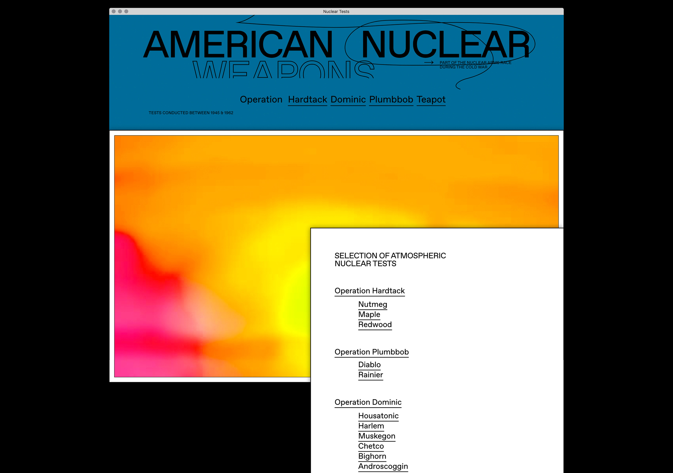 Homepage, American nuclear testing between 1945 & 1962